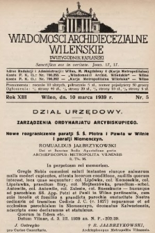 Wiadomości Archidiecezjalne Wileńskie : dwutygodnik kapłański. 1939, nr5