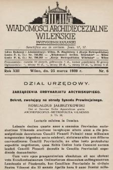 Wiadomości Archidiecezjalne Wileńskie : dwutygodnik kapłański. 1939, nr6
