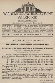 Wiadomości Archidiecezjalne Wileńskie : dwutygodnik kapłański. 1939, nr8