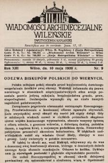 Wiadomości Archidiecezjalne Wileńskie : dwutygodnik kapłański. 1939, nr9