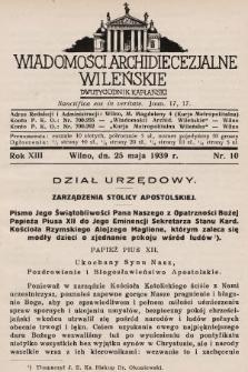 Wiadomości Archidiecezjalne Wileńskie : dwutygodnik kapłański. 1939, nr10