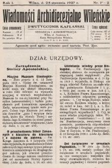 Wiadomości Archidiecezjalne Wileńskie : dwutygodnik kapłański. 1927 [całość]