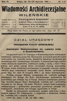 Wiadomości Archidiecezjalne Wileńskie : dwutygodnik kapłański. 1935 [całość]