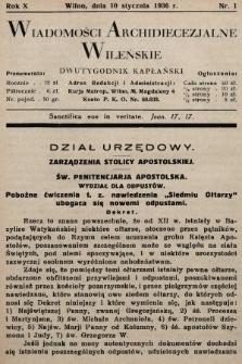Wiadomości Archidiecezjalne Wileńskie : dwutygodnik kapłański. 1936 [całość]
