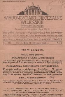Wiadomości Archidiecezjalne Wileńskie : dwutygodnik kapłański. 1938 [całość]
