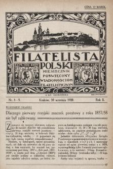 Filatelista Polski : miesięcznik poświęcony wiadomościom filatelistycznym. 1920, nr8-9