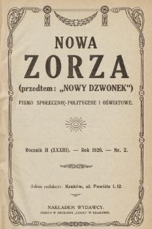 """Nowa Zorza : (przedtem """"Nowy Dzwonek"""") : pismo społeczno-polityczne i oświatowe. 1926, nr2"""
