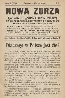 """Nowa Zorza : (przedtem """"Nowy Dzwonek"""") : pismo społeczno-polityczne i oświatowe. 1926, nr3"""