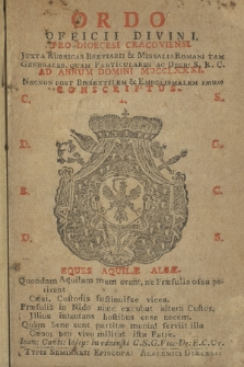 Ordo Officii Divini pro Dioecesi Cracoviensi Juxta Rubricas Breviarii & Missalis Romani tam Generales, quam Particulares ac Decr. S.R. C. ad Annum Domini ... Consriptus. 1781