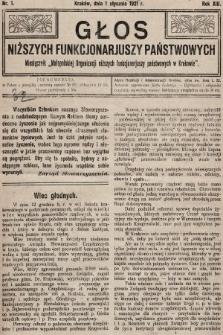 Głos Niższych Funkcjonariuszy Państwowych : miesięcznik Małopolskiej Organizacji Niższych Funkcjonariuszy Państwowych. 1921, nr1