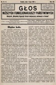 Głos Niższych Funkcjonariuszy Państwowych : miesięcznik Małopolskiej Organizacji Niższych Funkcjonariuszy Państwowych. 1921, nr6 i 7