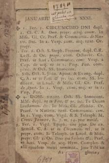 [Ordo Officii Divini pro Dioecesi Cracoviensi Juxta Rubricas Breviarii & Missalis Romani tam Generales, quam Particulares ac Decr. S.R. C. ad Annum Domini ... Consriptus]. 1789