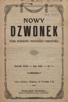 Nowy Dzwonek : pismo społeczno-polityczne i oświatowe. 1924, nr 7