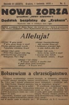 """Nowa Zorza : (przedtem """"Nowy Dzwonek"""") : dodatek bezpłatny do """"Krakusa"""". 1928, nr2"""