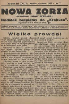 """Nowa Zorza : (przedtem """"Nowy Dzwonek"""") : dodatek bezpłatny do """"Krakusa"""". 1928, nr7"""