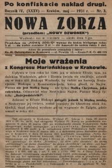"""Nowa Zorza : (przedtem """"Nowy Dzwonek""""). 1931, nr3"""