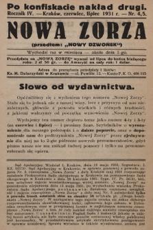 """Nowa Zorza : (przedtem """"Nowy Dzwonek""""). 1931, nr4-5"""