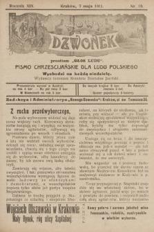 """Nowy Dzwonek : przedtem """"Głos Ludu"""" : pismo chrześcijańskie dla ludu polskiego. 1911, nr19"""