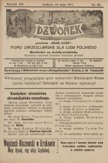 """Nowy Dzwonek : przedtem """"Głos Ludu"""" : pismo chrześcijańskie dla ludu polskiego. 1911, nr20"""