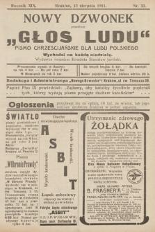 """Nowy Dzwonek : przedtem """"Głos Ludu"""" : pismo chrześcijańskie dla ludu polskiego. 1911, nr33"""