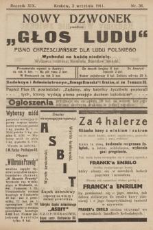 """Nowy Dzwonek : przedtem """"Głos Ludu"""" : pismo chrześcijańskie dla ludu polskiego. 1911, nr36"""
