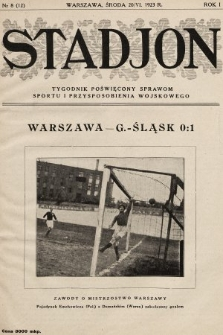 Stadjon : tygodnik poświęcony sprawom sportu i przysposobienia wojskowego. 1923, nr8