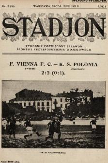 Stadjon : tygodnik poświęcony sprawom sportu i przysposobienia wojskowego. 1923, nr12