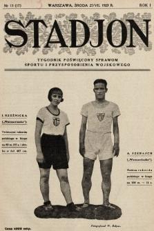 Stadjon : tygodnik poświęcony sprawom sportu i przysposobienia wojskowego. 1923, nr13