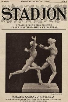 Stadjon : tygodnik poświęcony sprawom sportu i przysposobienia wojskowego. 1923, nr14