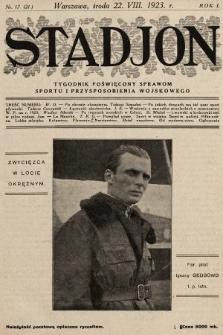 Stadjon : tygodnik poświęcony sprawom sportu i przysposobienia wojskowego. 1923, nr17