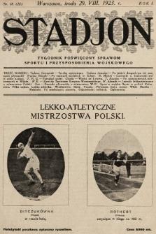 Stadjon : tygodnik poświęcony sprawom sportu i przysposobienia wojskowego. 1923, nr18