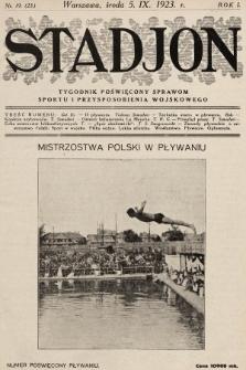 Stadjon : tygodnik poświęcony sprawom sportu i przysposobienia wojskowego. 1923, nr19