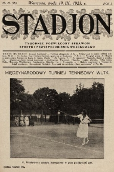 Stadjon : tygodnik poświęcony sprawom sportu i przysposobienia wojskowego. 1923, nr21