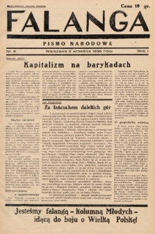 Falanga : pismo narodowe. 1936, nr8