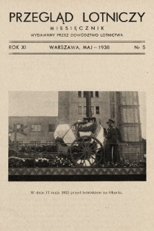 Przegląd Lotniczy : miesięcznik wydawany przez Dowództwo Lotnictwa. 1938, nr 5