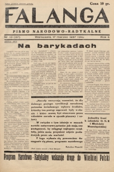 Falanga : pismo narodowo-radykalne. 1937, nr 10 (37)