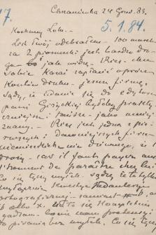 Korespondencja Leona Mańkowskiego z lat 1871-1909. T. 8, r. 1884