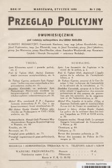 Przegląd Policyjny. 1939, nr1