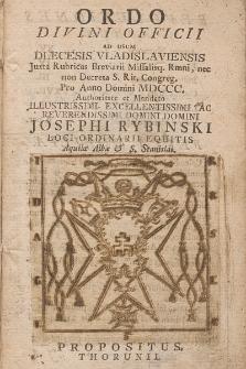 Ordo Divini Officii ad usum Diæcesis Vladislaviensis & Pomeraniæ Juxta Rubr. Breviarii, Missalisque Romani, Nec Non Decreta S. R. Congregationis pro Anno Domini 1800