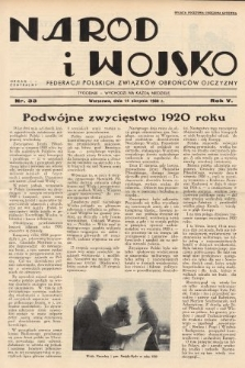 Naród i Wojsko : centralny organ Federacji Polskich Związków Obrońców Ojczyzny. 1938, nr33