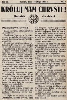 Króluj nam Chryste : dodatek dla dzieci. 1935, nr7
