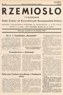 Rzemiosło : organ Związku Izb Rzemieślniczych Rzeczypospolitej Polskiej. 1934, nr 42