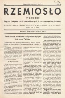 Rzemiosło : organ Związku Izb Rzemieślniczych Rzeczypospolitej Polskiej. 1935, nr 7