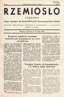Rzemiosło : organ Związku Izb Rzemieślniczych Rzeczypospolitej Polskiej. 1935, nr 8