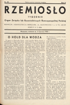 Rzemiosło : organ Związku Izb Rzemieślniczych Rzeczypospolitej Polskiej. 1935, nr 22