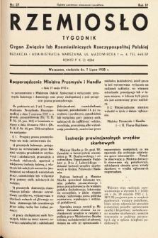 Rzemiosło : organ Związku Izb Rzemieślniczych Rzeczypospolitej Polskiej. 1935, nr 27