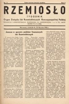 Rzemiosło : organ Związku Izb Rzemieślniczych Rzeczypospolitej Polskiej. 1936, nr2