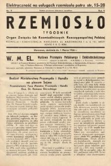 Rzemiosło : organ Związku Izb Rzemieślniczych Rzeczypospolitej Polskiej. 1936, nr9