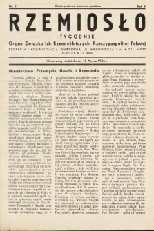 Rzemiosło : organ Związku Izb Rzemieślniczych Rzeczypospolitej Polskiej. 1936, nr11