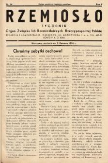 Rzemiosło : organ Związku Izb Rzemieślniczych Rzeczypospolitej Polskiej. 1936, nr14